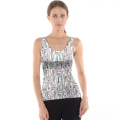 Gray Pink Blue Gray And Purple Abstract Pattern Tank Top by CoolDesigns