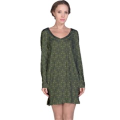 Dark Green Flower And Cross Pattern Long Sleeve Nightdress by CoolDesigns