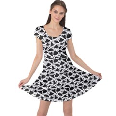 Black Silhouettes Of Spaceships Pattern Cap Sleeve Dress by CoolDesigns