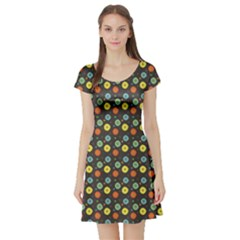 Blue Abstract Flower Pattern Short Sleeve Skater Dress by CoolDesigns