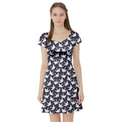 Blue Old School Pattern With Birds Short Sleeve Skater Dress by cowcowclothing