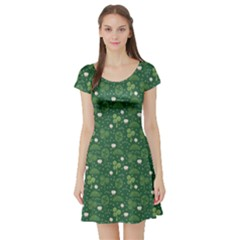 Green Hand Drawn Pattern With Celtic Elements Short Sleeve Skater Dress by CoolDesigns