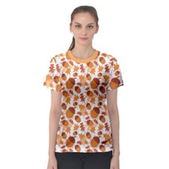 Orange Autumnal Pattern With Acorns Women s Sport Mesh Tee by CoolDesigns