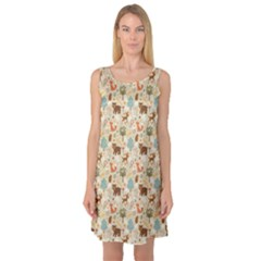 Colorful Colorful Woodland Animals Pattern Sleeveless Satin Nightdress by CoolDesigns