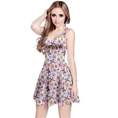 Purple White Floral Pattern With Vivid Flowers Butterflies Sleeveless Dress by CoolDesigns