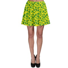 Green Abstract Pattern With Leaves Skater Skirt by CoolDesigns
