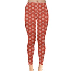 Red Red With White Snowflakes Pattern Leggings by CoolDesigns