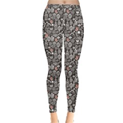 Dark Birds And Flowers Pattern Texture Leggings by CoolDesigns