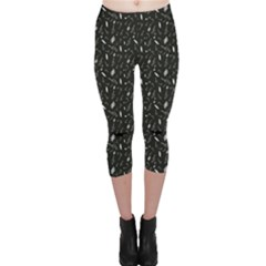 Black Pattern With Various Music Symbols Capri Leggings