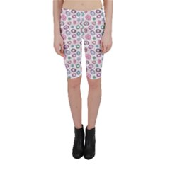 Purple White Pattern Colorful Balls Flowers Polka Dots Cropped Leggings by CoolDesigns