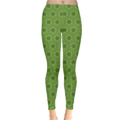 Green Decorative Floral Pattern Leggings by CoolDesigns