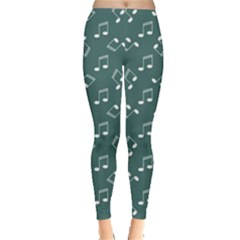 Green Music Elements Notes Gray Pattern Leggings by CoolDesigns