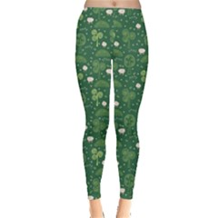 Green Hand Drawn Pattern With Celtic Elements Leggings by CoolDesigns