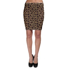 Brown A Brown And Yellow Giraffe Spotted Repeatable Bodycon Skirt by CoolDesigns