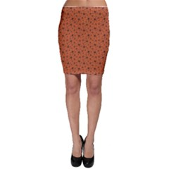 Orange Halloween Pattern With Poisonous Spiders Bodycon Skirt by CoolDesigns