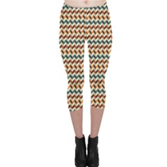Brown Vintage Zigzag Pattern Capri Leggings by CoolDesigns