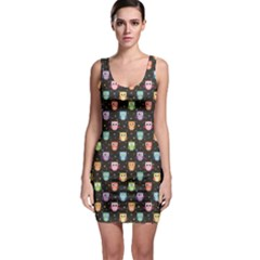 Black Pattern With Colorful Owls On Dark Bodycon Dress by CoolDesigns
