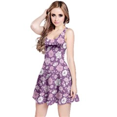 Purple Purple Kimono Florals Pattern Sleeveless Skater Dress