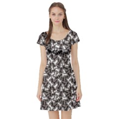 Black Black and White Chess Pieces Gray Pattern Short Sleeve Skater Dress by cowcowclothing