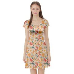 Colorful Food Pattern Suitable for Food Packaging Short Sleeve Skater Dress by CoolDesigns