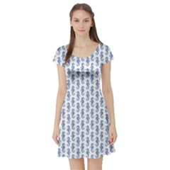 Blue Sea Horse Pattern Short Sleeve Skater Dress by CoolDesigns