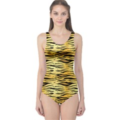 Yellow Tiger Pattern Women s One Piece Swimsuit by CoolDesigns