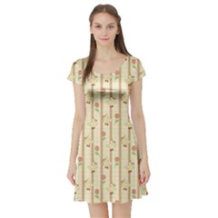Yellow Cute Duck Pattern Short Sleeve Skater Dress by CoolDesigns