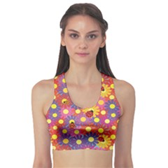 Colorful Ladybugs And Flowers Women s Sport Bra by CoolDesigns