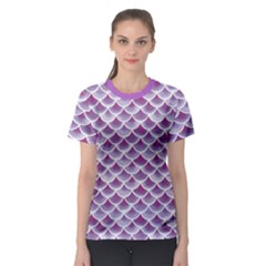 Purple Watercolor Retro Fish Scales Texture Pattern Women s Sport Mesh Tee by CoolDesigns