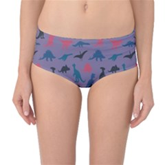 Blue Set of Silhouettes Dinosaur Animal Retro Pattern Mid Waist Bikini Bottom by CoolDesigns