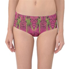 Purple Pattern with Macaw Parrots Hand Drawn Mid Waist Bikini Bottom by CoolDesigns