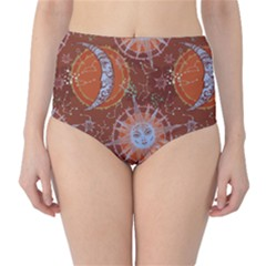 Brown Composition With Sun And Moon High Waist Bikini Bottom by CoolDesigns