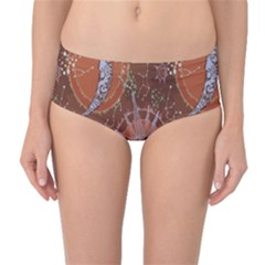 Brown Composition with Sun and Moon Mid Waist Bikini Bottom by CoolDesigns