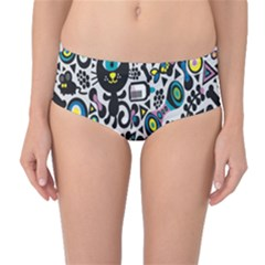 Colorful Cute Monsters Cats Pattern Colorful Mid Waist Bikini Bottom by CoolDesigns
