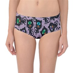 Purple Cute Monsters Cats Pattern Colorful Mid Waist Bikini Bottom by CoolDesigns