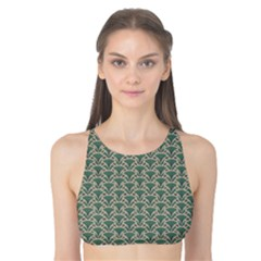 Gray Floral Pattern Fan Motif On Green Tank Bikini Top by CoolDesigns