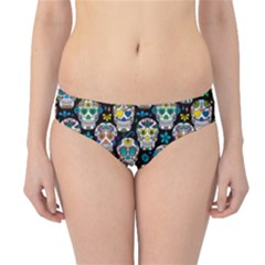 Black Day of the Dead Sugar Skull Hipster Bikini Bottom by CoolDesigns