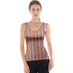 Brown Colorful Strip Abstract Stylish Design Tank Top by CoolDesigns