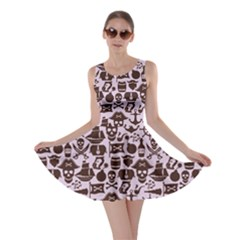 Purple Pattern on Pirate Theme with Objects and Elements Skater Dress by cowcowclothing