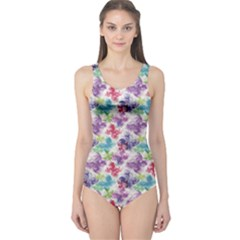 Purple Floral Pattern Silhouettes Colorful Butterflies Women s One Piece Swimsuit by CoolDesigns