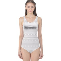 Gray Hand Drawn Pattern For Women s One Piece Swimsuit by CoolDesigns