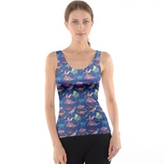 Blue Dinosaur Stylish Pattern Tank Top by CoolDesigns