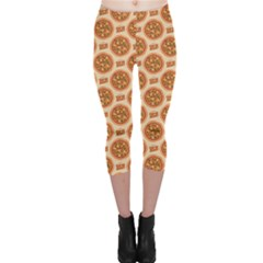 Yellow Pizza Pattern Stylish Design Capri Leggings by CoolDesigns