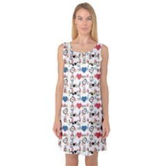 Colorful Dog And Cat Pattern Stylish Design Sleeveless Satin Nightdress by CoolDesigns