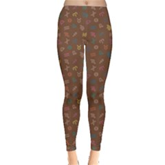 Brown Abstract With Outlined Colorful Zodiac Signs Pattern On Dark Leggings by CoolDesigns