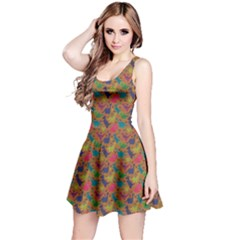 Brown Dinosaur Tileable Pattern Short Sleeve Skater Dress by CoolDesigns