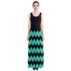 Green Chevron Sleeveless Maxi Dress by CoolDesigns