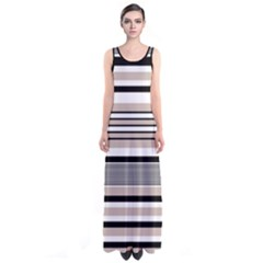 Beige Stripes Sleeveless Maxi Dress by CoolDesigns