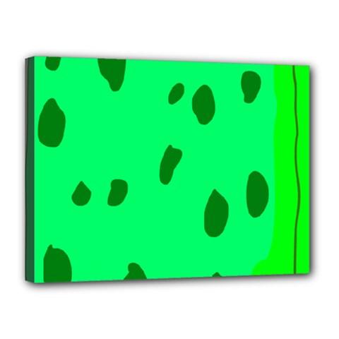 Alien Spon Green Canvas 16  X 12  by Alisyart