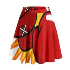 Boxing Gloves Red Orange Sport High Waist Skirt by Alisyart